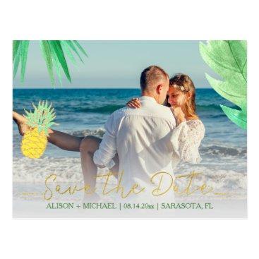 Beach Themed Tropical pineapple green wedding save date photo postcard