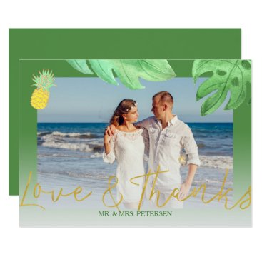 Beach Themed Tropical pineapple green wedding thank you photo card