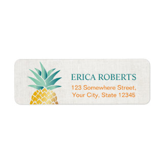 Tropical Pineapple Hawaiian Classy Linen Label