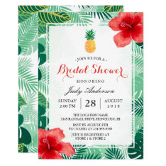 Tropical Pineapple Hawaiian Hibiscus Bridal Shower Card at Zazzle