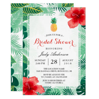 Tropical Pineapple Hawaiian Hibiscus Bridal Shower Card