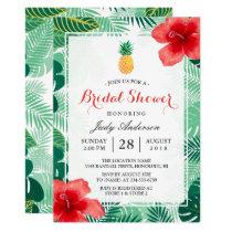 Tropical Pineapple Hawaiian Hibiscus Bridal Shower Invitation