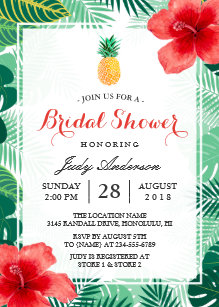 Tropical bridal shower invitations zazzle tropical pineapple hawaiian hibiscus bridal shower invitation filmwisefo