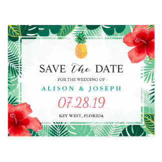 Tropical Pineapple Hawaiian Hibiscus Save the Date Postcard