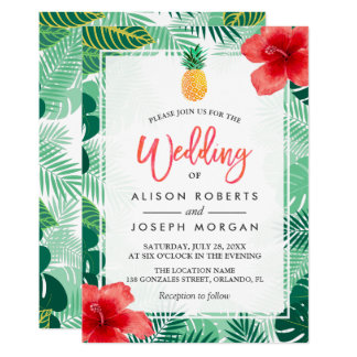 Tropical Pinele Hawaiian Hibiscus Wedding Card
