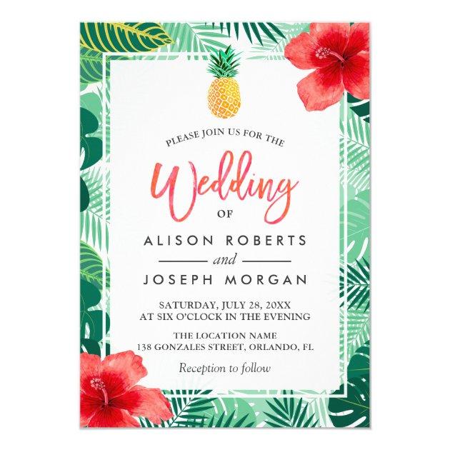 Tropical Pineapple Hawaiian Hibiscus Wedding Card (back side)