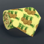 """Tropical Pineapple Hawaiian Pattern Aloha Neck Tie<br><div class=""""desc"""">Tropical Pineapple Hawaiian Pattern Aloha Tie on yellow background. This funny tie is a great gift for tropical lovers,  waiters,  mixers,  bartenders. Fun tie for male with a sense of humor and passion of the islands of Hawaii. pineapples,  tropical,  hawaii,  summer,  beach,  hawaiian,  aloha,  polynesian</div>"""