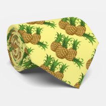 Tropical Pineapple Hawaiian Pattern Aloha Neck Tie