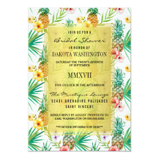 Tropical Pineapple & Hibiscus Bridal Shower Card