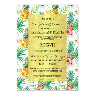 Tropical Pineapple & Hibiscus Couple's Shower Card
