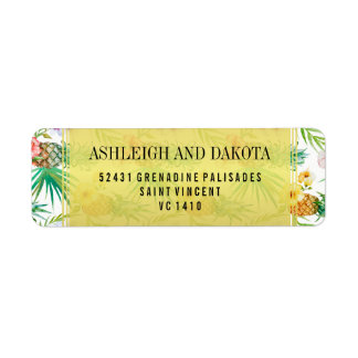 Tropical Pineapple & Hibiscus Destination Wedding Label