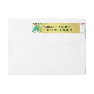 Tropical Pineapple & Hibiscus Destination Wedding Wrap Around Label