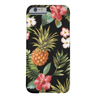 Tropical Pineapple Hibiscus Flowers iphone Cover Barely There iPhone 6 Case