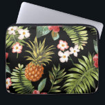"Tropical Pineapple Hibiscus Flowers Laptop Sleeve<br><div class=""desc"">A stunningly beautiful pineapple &amp; tropical hibiscus floral flowers set on a stylish black background. Easy to change the background color - just click on customize and use the color picker on the right. Floral flower pattern feminine girly laptop sleeve. Protect your computer laptop with our custom stylish sleeves. Sizes...</div>"