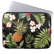 Tropical Pineapple Hibiscus Flowers Laptop Sleeve