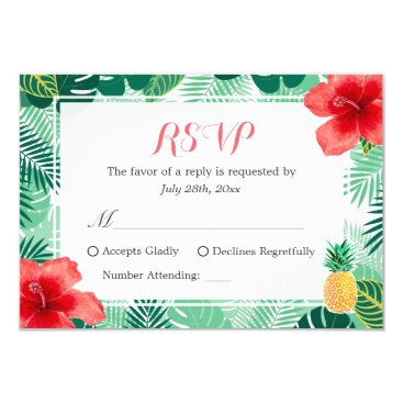 CardHunter Tropical Pineapple Hibiscus Leaves RSVP Response Card