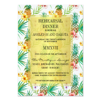 Tropical Pineapple & Hibiscus Rehearsal Dinner Card