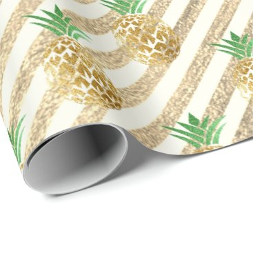 Beach Themed Tropical pineapple leafs green gold stripes white wrapping paper