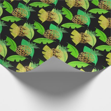 Beach Themed Tropical pineapple leafs green gold woodland black wrapping paper