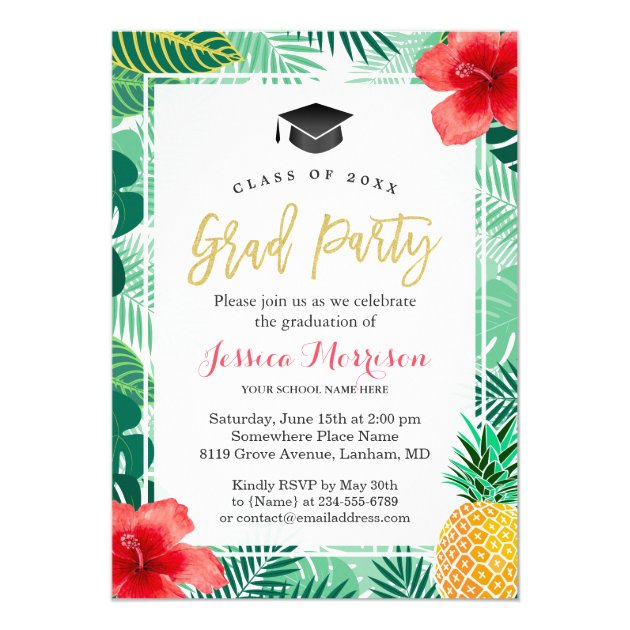 Tropical Pineapple Luau Graduation Party Card (front side)
