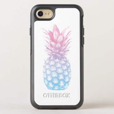 Beach Themed Tropical Pineapple Modern Blue & Pink OtterBox Symmetry iPhone 7 Case