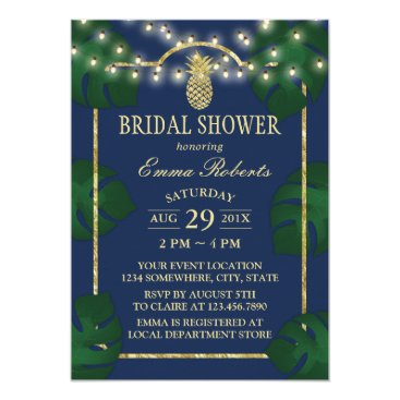 myinvitation Tropical Pineapple Navy & Gold Luau Bridal Shower Card