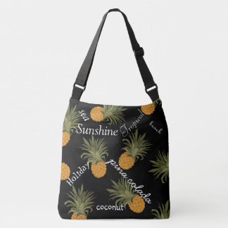Tropical Pineapple On Black Background Typography Crossbody Bag