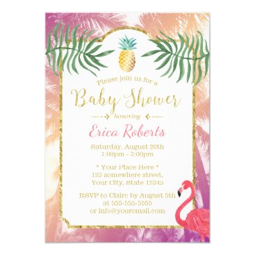 Toddler & Baby themed Tropical Pineapple & Palm Trees Baby Shower Card