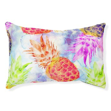 Beach Themed Tropical Pineapple Pattern Beautiful Watercolor Pet Bed