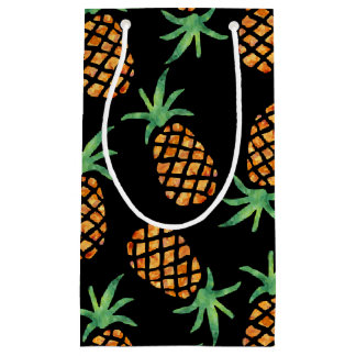 Tropical Pineapple Pattern Black Small Gift Bag