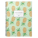 Tropical Pineapple Pattern Green Notebook