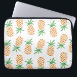 "Tropical Pineapple Pattern Laptop Sleeve<br><div class=""desc"">Design features a tropical pineapple pattern in sunny watercolors. Additional colors and coordinating items available in our shop!</div>"