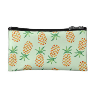 Tropical Pineapple Pattern | Pastel Green Makeup Bag