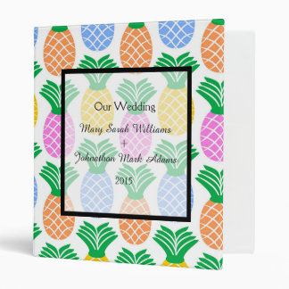 Tropical Pineapple Pattern Wedding Planner Binder