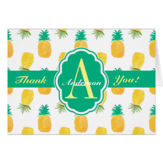 Tropical Pineapple Patterned Monogrammed Card