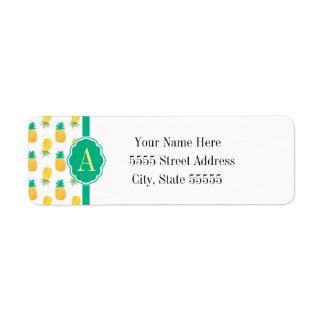 Tropical Pineapple Patterned Monogrammed Label