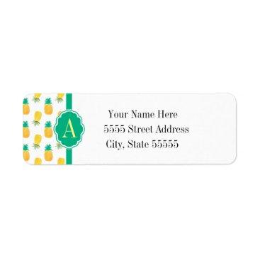 GiftShopOnline Tropical Pineapple Patterned Monogrammed Label
