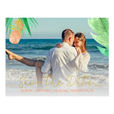 Beach Themed Tropical pineapple peachy wedding save date photo postcard