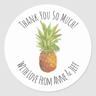 Tropical Pineapple Personalized Thank You Classic Round Sticker