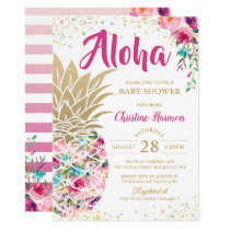 Tropical Pineapple Pink Gold Floral Baby Shower Invitation
