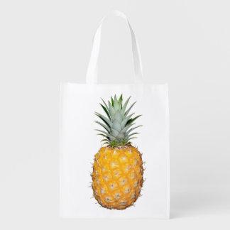Tropical pineapple reusable grocery bag
