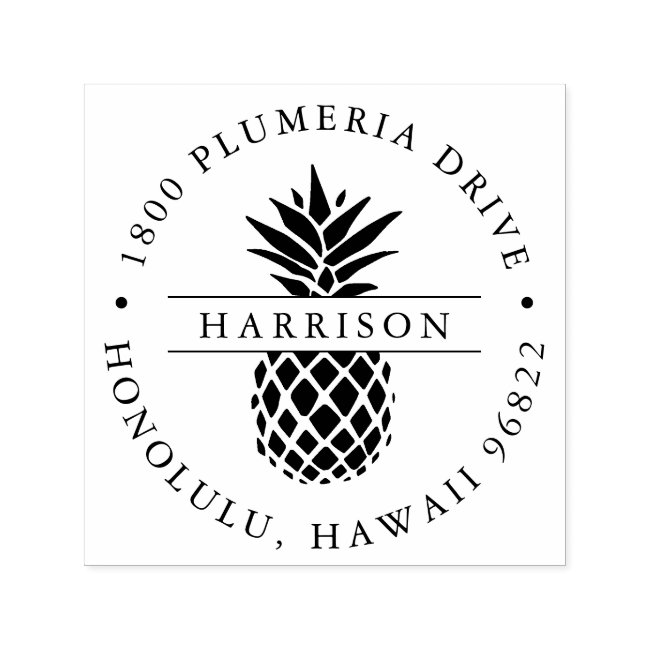 Tropical Pineapple Round Return Address Self-inking Stamp