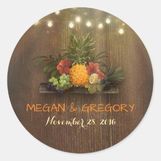 Tropical Pineapple Rustic Beach Lights Wedding Classic Round Sticker
