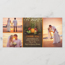 Tropical Pineapple Rustic Beach Wedding Thank You