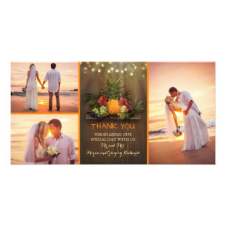 Tropical Pineapple Rustic Beach Wedding Thank You Card