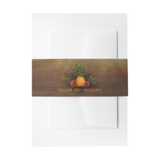 Tropical Pineapple Rustic Beach Wood Wedding Invitation Belly Band