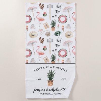 Tropical Pineapple Summer Bachelorette Weekend Beach Towel
