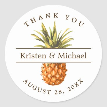 Toddler & Baby themed Tropical Pineapple Thank You Wedding Favor Classic Round Sticker