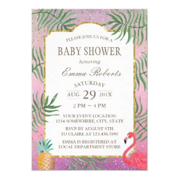 Beach Themed Tropical Pineapple Watercolor Beach Baby Shower Card