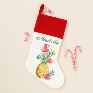 Tropical Pineapple Watercolor Christmas Holiday Christmas Stocking